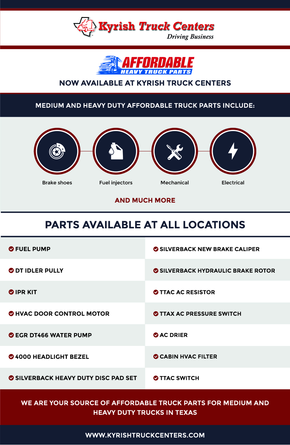 Affordable Truck Parts Offered by Kyrish Truck Centers